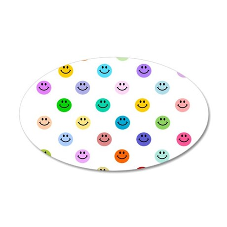 Rainbow Smiley Pattern 22x14 Oval Wall Peel