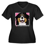 I Love My Bernese Women's Plus Size V-Neck Dark T-