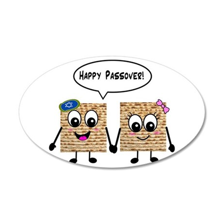 Happy Passover Matzot 38.5 x 24.5 Oval Wall Peel