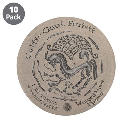 "Celtic Epona Coin 3.5"" Button (10 pack)"