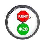 Stop Sign Kony Go 420 Wall Clock