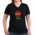 Stop Kony 420 Women's V-Neck Dark T-Shirt