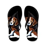 Tri-color Beagle Cartoon Black Flip Flops