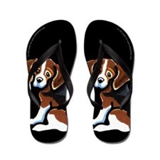 Tri-color Beagle Cartoon Black Flip Flops
