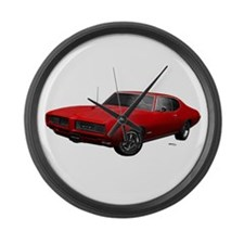 1968 GTO Solar Red Large Wall Clock