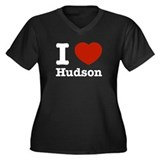 I love Hudson Women's Plus Size V-Neck Dark T-Shir