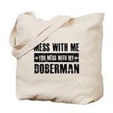 Funny Doberman Design Tote Bag