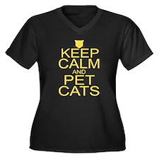 Keep Calm and Pet Cats Women's Plus Size V-Neck Da