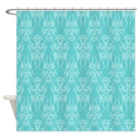 Tiffany Teal Damask Shower Curtain By Styletease