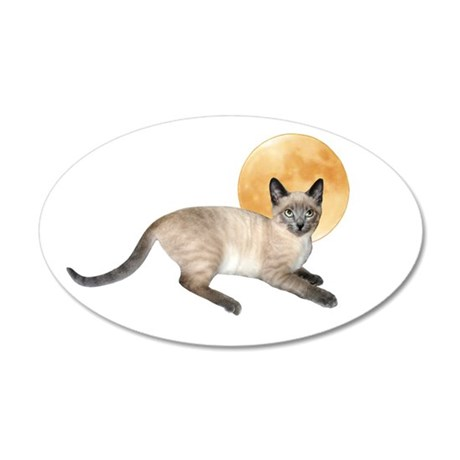 Full Moon Cat 20x12 Oval Wall Decal
