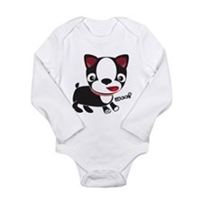 "Boston Terrier Puppy says ""Wo Long Sleeve Infant B"