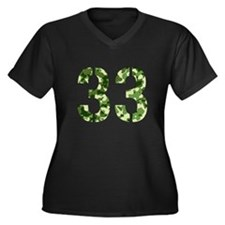 Number 33, Camo Women's Plus Size V-Neck Dark T-Sh