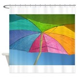 Colorful Beach Umbrella Shower Curtain