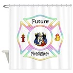Future Firefighter Pastel Shower Curtain