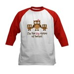 Big Sister of Twins - Mod Owl Kids Baseball Jersey