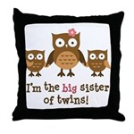 Big Sister of Twins - Mod Owl Throw Pillow