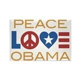 Peace, Love, Obama Rectangle Magnet