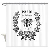 Black and white paris Shower Curtains