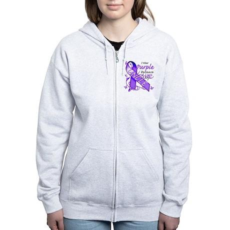 I Wear Purple I Love My Uncle Women's Zip Hoodie