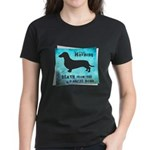 Grunge Doxie Warning Women's Dark T-Shirt