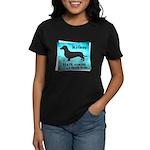 Grunge Doxie Warning Women's Dark T-Shirt