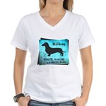 Grunge Doxie Warning Women's V-Neck T-Shirt