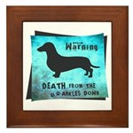 Grunge Doxie Warning Framed Tile