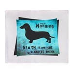 Grunge Doxie Warning Throw Blanket