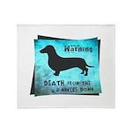 Grunge Doxie Warning Throw Blanket