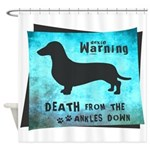 Grunge Doxie Warning Shower Curtain