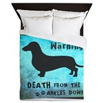Grunge Doxie Warning Queen Duvet
