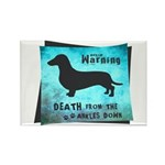 Grunge Doxie Warning Rectangle Magnet
