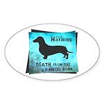 Grunge Doxie Warning Sticker (Oval)