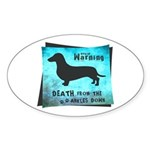 Grunge Doxie Warning Sticker (Oval 50 pk)
