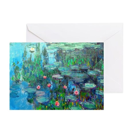 Monet - Water Lilies 1914 v2 Greeting Cards (Pk of