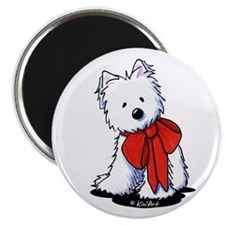 "Red Ribbon Westie 2.25"" Magnet (100 pack)"