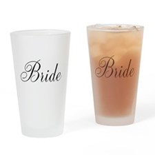 Bride Black Script Drinking Glass