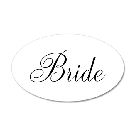 Bride Black Script 38.5 x 24.5 Oval Wall Peel