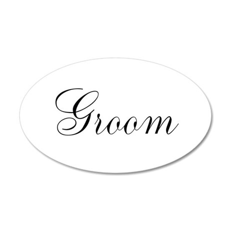 Groom Black Script 22x14 Oval Wall Peel