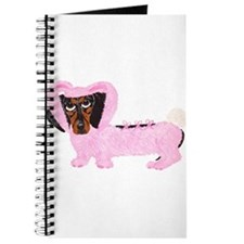 Dachshund In Fuzzy Pink Bunny Journal