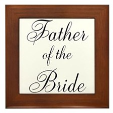 Father of the Bride Black Scr Framed Tile