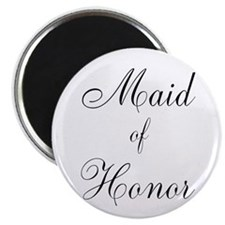 "Maid of Honor Black Script 2.25"" Magnet (100 pack)"