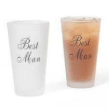 Best Man Black Script Drinking Glass