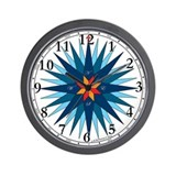 Shades of Blue Compass Rose Wall Clock