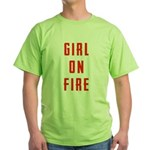Girl On Fire 2 Green T-Shirt