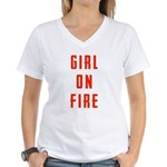 Girl On Fire 2 Women's V-Neck T-Shirt