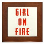 Girl On Fire 2 Framed Tile