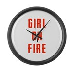 Girl On Fire 2 Large Wall Clock