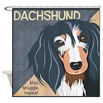 Dachshund-Kiss.Snuggle.Repeat. Shower Curtain