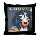 Dachshund-Kiss.Snuggle.Repeat. Throw Pillow